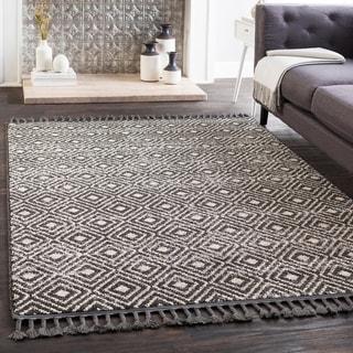 "Lyla Black Moroccan Tile Tassel Area Rug - 2'7"" x 7'3"" Runner"