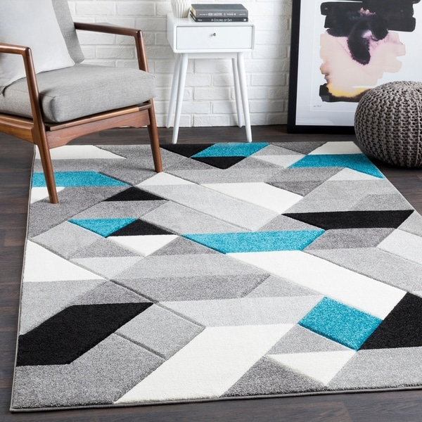 "Tito Teal Mod Mini Triangles Area Rug - 2'7"" x 7'6"" Runner"