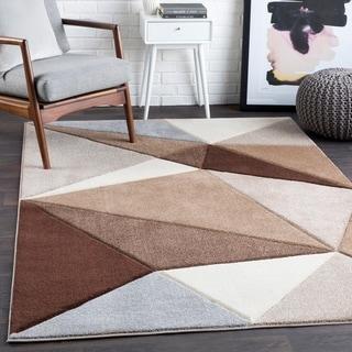 """Tito Brown Contemporary Triangles Area Rug - 5'3"""" x 7'6"""""""