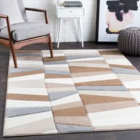 "Cora Brown Contemporary Blocks Area Rug - 2'7"" x 7'6"" Runner"