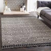 "Lyla Black Moroccan Tile Tassel Area Rug - 5' x 7'3"""