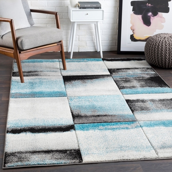 """Adalyn Teal Contemporary Abstract Area Rug - 5'3"""" x 7'6"""""""
