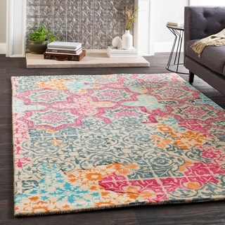"Marlow Pink Handmade Wool Patchwork Area Rug (5' x 7'6"") - 5' x 7'6"""