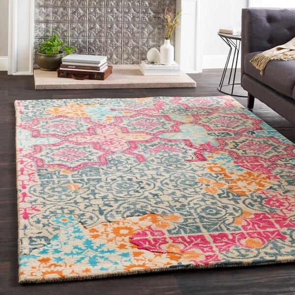 "Marlow Pink Handmade Wool Patchwork Area Rug (5' x 7'6"") - 5' x 7'6"""