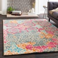 Handmade Marlow Pink Wool Patchwork Area Rug - 5' x 7'6