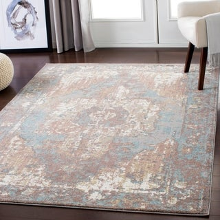 "Slate Blue Distressed Vintage Area Rug - 5'3"" x 7'3"""