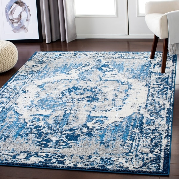 "Blue & Cream Distressed Vintage Area Rug - 5'3"" x 7'3"""