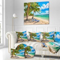 Designart 'Blue chairs at the tropical white sand beach' Landscapes Sea & Shore Photographic on wrapped Canvas