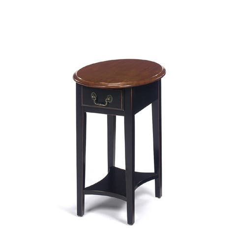 Solid Wood Oval End Table with Drawer