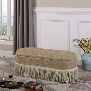 18.5 in Beige Tufted Floral Frings Storage Ottoman