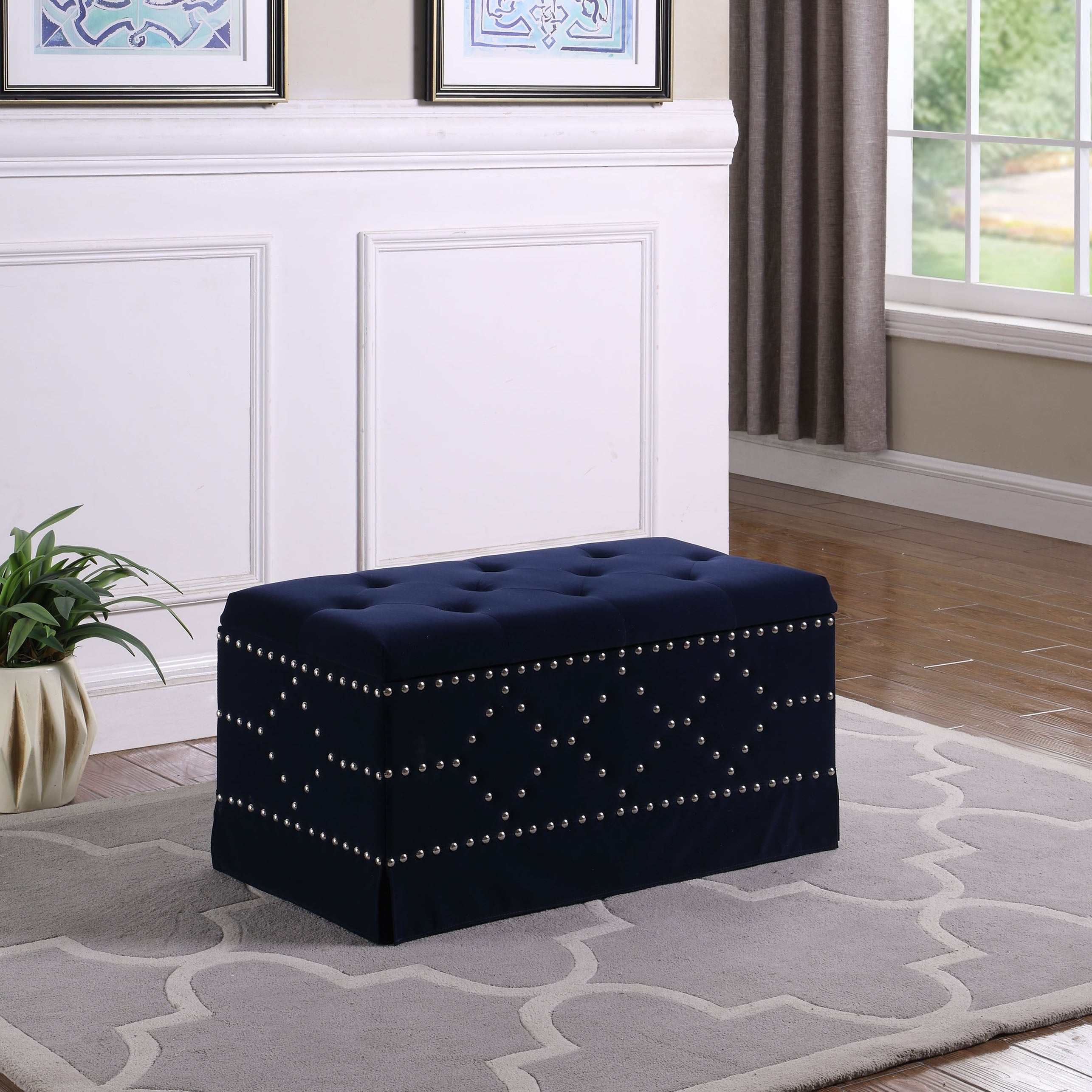 Picture of: Velvet Upholstered Tufted Storage Bench With 2 Seats On Sale Overstock 21278424