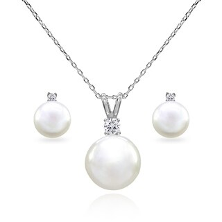 Glitzy Rocks 10mm Freshwater Cultured White Pearl & CZ Sterling Silver Stud Earrings & Necklace Set
