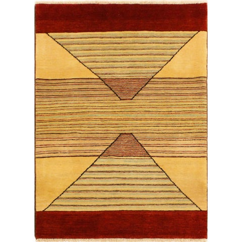 """Gabbeh Cecil Tan/Red Hand-Knotted Wool Rug (3'0 x 5'1) - 3' 0"""" x 5' 1"""""""