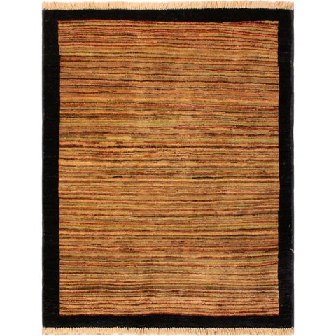 "Gabbeh Lulu Blue/Black Hand-Knotted Wool Rug (3'0 x 3'9) - 3' 0"" x 3' 9"""