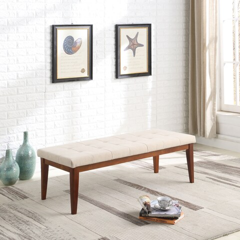16.5 in Upholstered Mid Century Tufted Bench