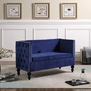 Link to 28.25 in Velvet Tufted Nailhead Storage Settee Loveseat Similar Items in Living Room Furniture