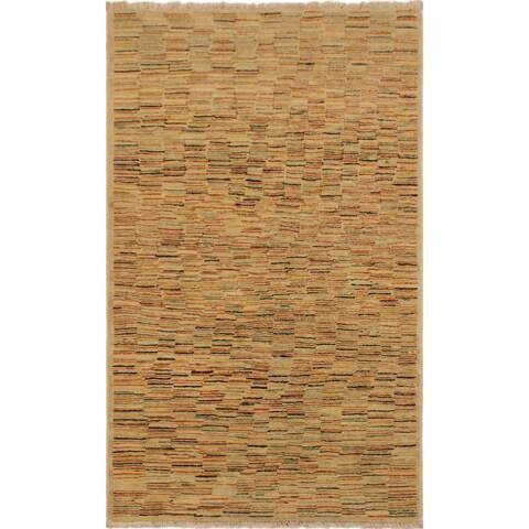 "Gabbeh Blair Tan/Rust Hand-Knotted Wool Rug (3'2 x 5'0) - 3' 2"" x 5' 0"""