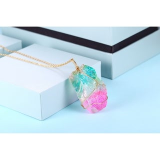 Raw Watermelon Tourmaline Gemstone Pendant Necklace with Thin Gold Chain