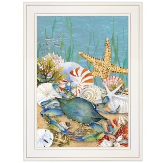 """""""Blue Crab"""" by Barb Tourtillotte, Ready to Hang Framed Print, White Frame"""