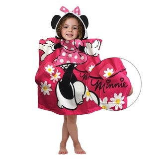 Disney Minnie Mouse Flowers Official Pocket Frenz Cotton Bath/Beach Hooded Towel