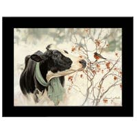 """The Winter Robin"" by Bonnie Mohr, Ready to Hang Framed Print, Black Frame"