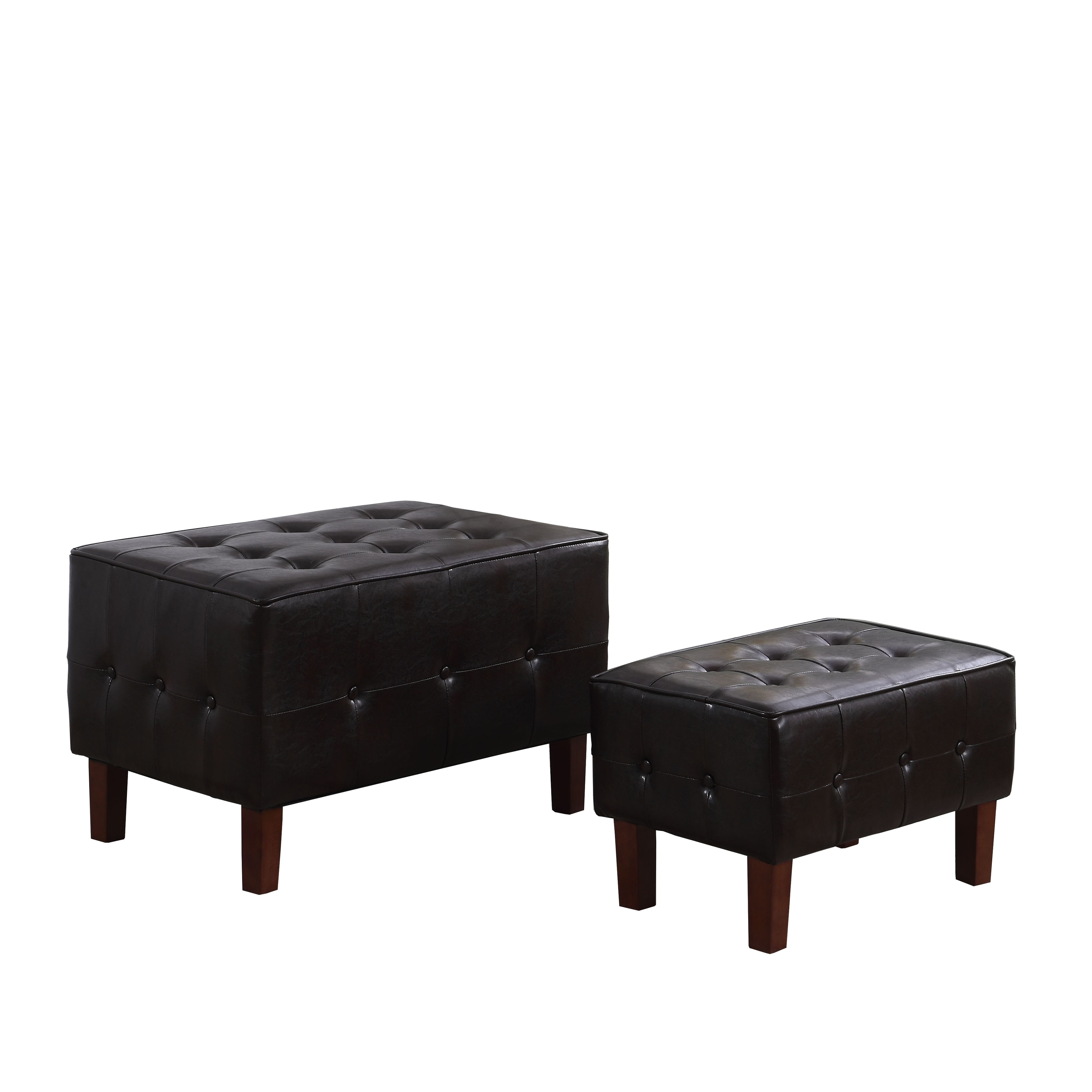 Shop 19 5 In Faux Leather Tufted Piped Seating Bench With Wood Legs On Sale Overstock 21278709