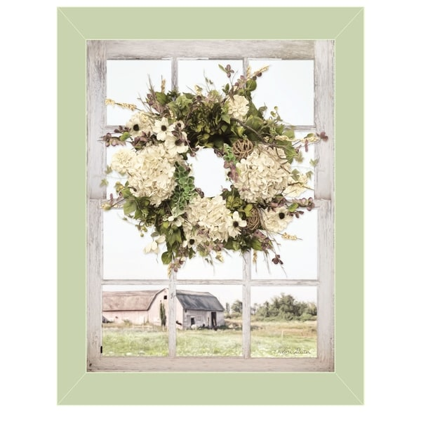 """Pleasant View"" by Lori Deiter, Ready to Hang Framed Print, Light Green Window-Style Frame"