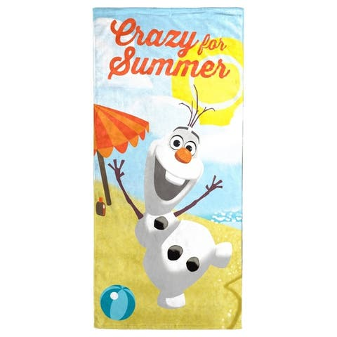 "Disney Frozen Olaf Crazy for Summer Cotton Beach/Bath Towel - 28"" x 58"""
