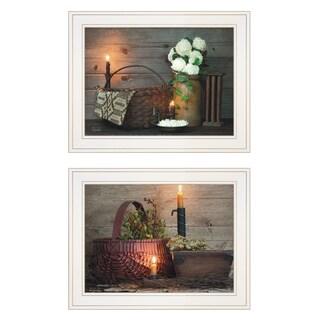 """White / Red baskets"" 2-Piece Vignette by Susie Boyer, White Frame"