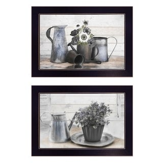 """Floral with Tin Ware"" 2-Piece Vignette by Robin-Lee Vieira, Black Frame"