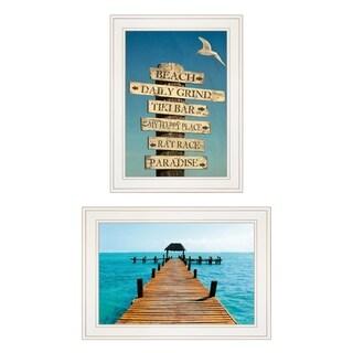 """Beach Nautical"" 2-Piece Vignette by Graffitee Studios, White Frame"