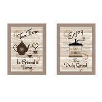 """""""Enjoy Tea Time"""" 2-Piece Vignette by Millwork Engineering, Taupe Frame"""
