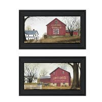 """Antique Barn & Quilt Barn"" 2-Pc Vignette by Billy Jacobs, Black Frame"