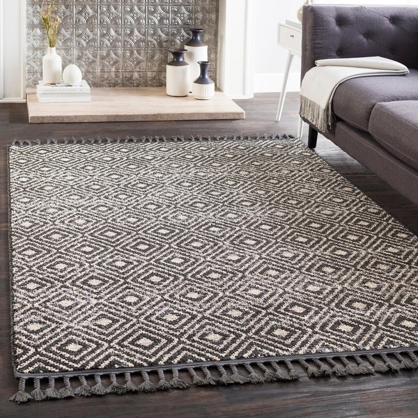 "Lyla Black Moroccan Tile Tassel Area Rug (7'10"" x 10') - 7'10"" x 10'"