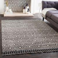 "Lyla Black Moroccan Tile Tassel Area Rug (7'10"" x 10') - 7'10 x 10'"