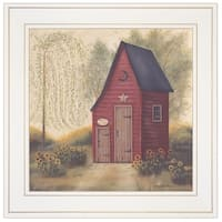 """Folk Art Outhouse II"" by Pam Britton, Ready to Hang Framed Print, White Frame"