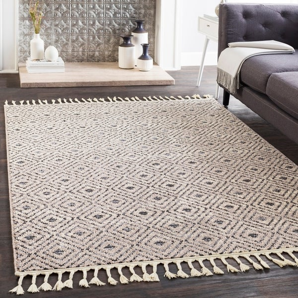 "Shop Lyla Gray Moroccan Tile Tassel Area Rug (7'10"" X 10"
