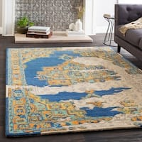 Marlow Handmade Vintage Blue/Khaki Wool Area Rug (8' x 10')