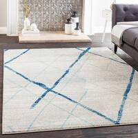 Mellie Blue Contemporary Lines Area Rug - 7'10 x 10'3