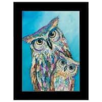 """Wise Guys - Owls"" by lisa Morales, Mixed Medium; Ready to Hang Framed Print, Black Frame"