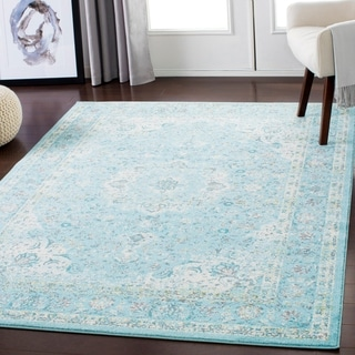 "Lena Aqua Traditional Area Rug (7'10"" x 10'3"") - 7'10"" x 10'3"""