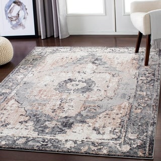 Grey Distressed Traditional Area Rug - 7'10 x 10'3