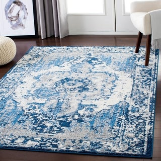 "Blue & Cream Distressed Vintage Area Rug (7'10"" x 10'3"") - 7'10"" x 10'3"""