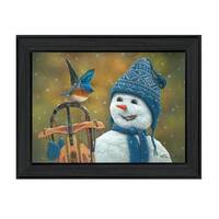 """""""Snow Brother - Snowman"""" by Kim Norlien, Ready to Hang Framed Print, Black Frame"""