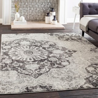 Roxie Gray Transitional Medallion Area Rug - 2' x 3'