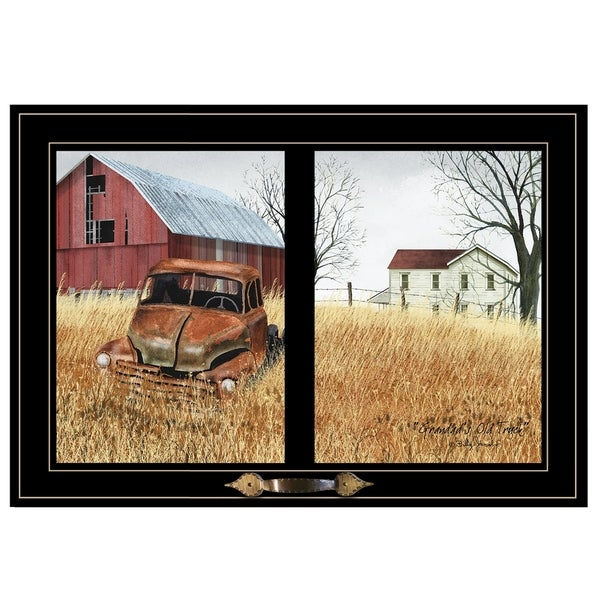 """""""Granddads Old Truck"""" by Billy Jacobs, Ready to Hang Framed Print, Black Window-Style Frame"""