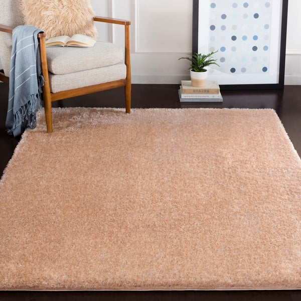 "Ashe Blush Pink Solid Shag Area Rug - 5'3"" x 7'3"""