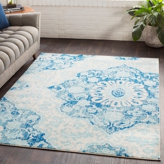 "Roxie Blue Transitional Medallion Area Rug - 2'7"" x 7'6"" Runner"