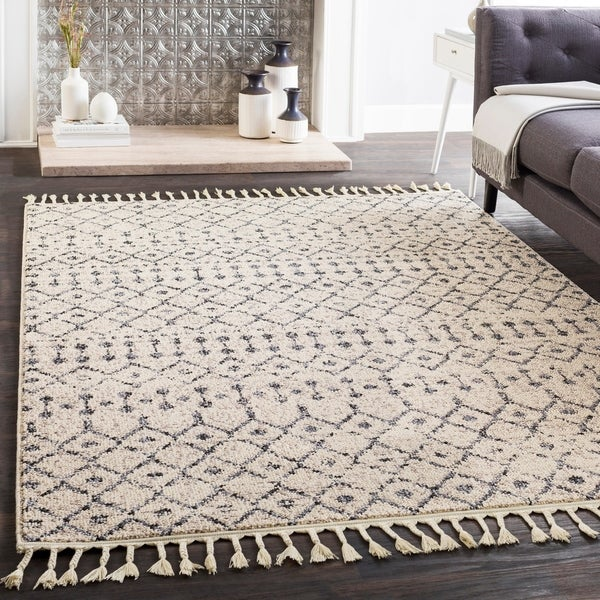 "Laci Cream Moroccan Patterned Tassel Area Rug - 2'7"" x 10' Runner"