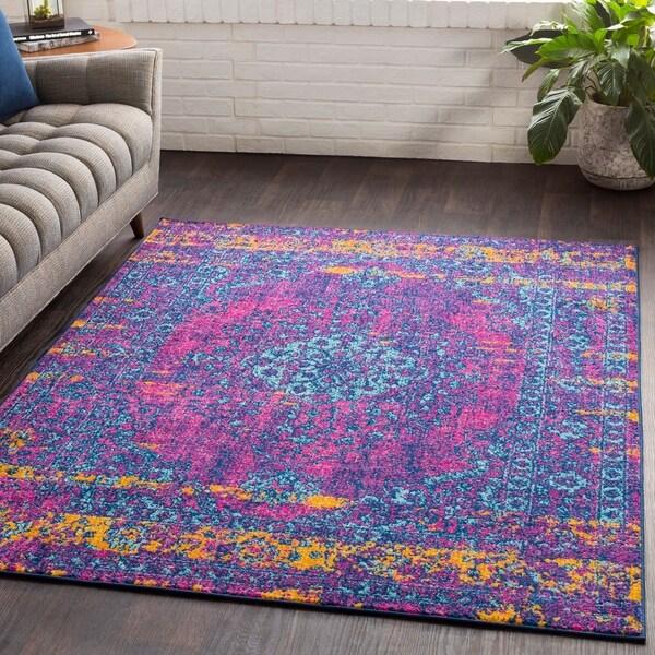 "Myah Blue & Pink Traditional Rug (7'10"" x 10'3"") - 7'10"" x 10'3"""